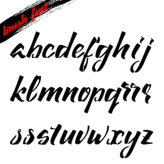 Schriftpinsel, lateinisches alphabet kursiv für beschriftung