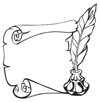 Schriftrolle aus papier, feder und tintenfass im vintage-skizzen-stil. handgezeichnete vektor-illustration.