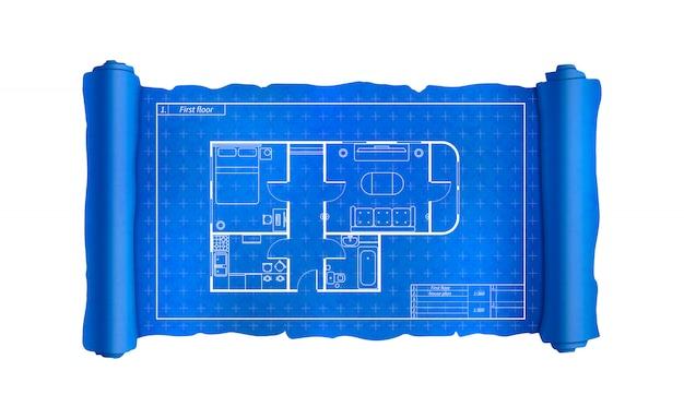 Schriftrolle mit hausplan mit möbeln, blaupause auf weiß