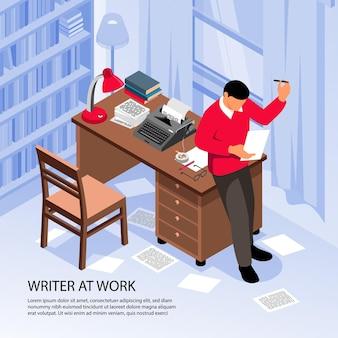 Schriftsteller bei der arbeit, der kreative ideen bei der isometrischen komposition des arbeitsplatzes mit traditioneller illustration von büroinnenausstattungsobjekten erhält