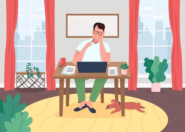 Schriftsteller bei flacher farbillustration des laptops. freiberufler im home office. editor arbeitsprozess am computer. blogger schreibt. neuartige 2d-zeichentrickfiguren mit hausinnenraum auf hintergrund