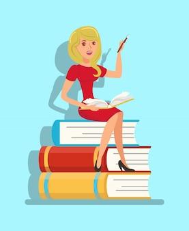 Schriftsteller, lehrer, der auf buchstapel-illustration sitzt