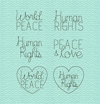 Schriftzeichen für menschenrechte und frieden