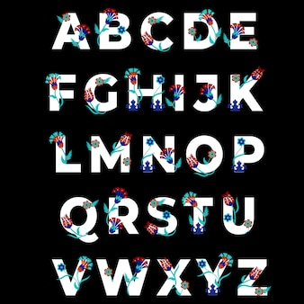 Schriftzug alphabet mit türkischen blumenmotiven.