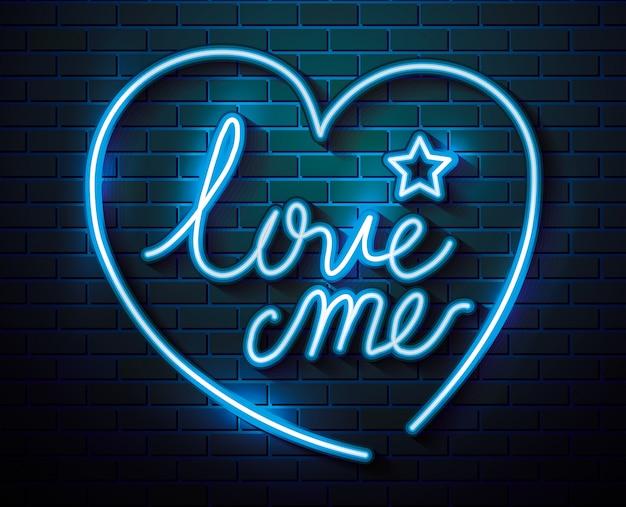 Schriftzug der liebe mit herz und stern der neonröhren