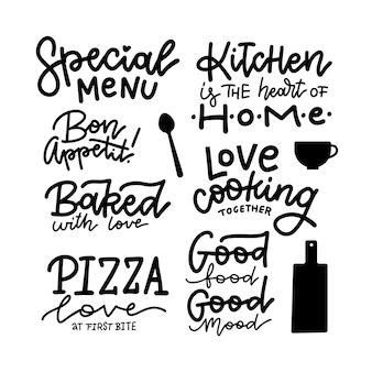 Schriftzug essen, getränk typografie set.
