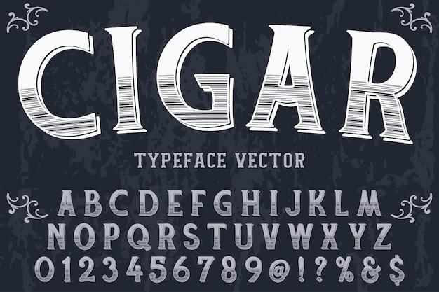 Schriftzug etikett design zigarre