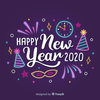 Schriftzug frohes neues jahr 2020 mit partyhüten und uhr