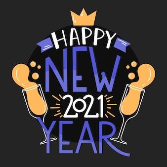 Schriftzug frohes neues jahr 2021 mit champagnergläsern