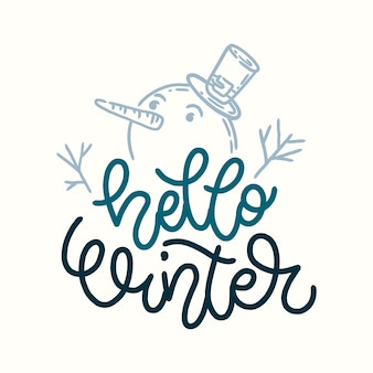 Schriftzug hallo winter