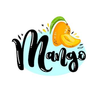 Schriftzug mango logo mit reifen saftigen früchten mango. buntes logo für saft