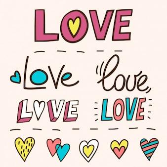 Schriftzug mit dem wort liebe, von hand gezeichnet