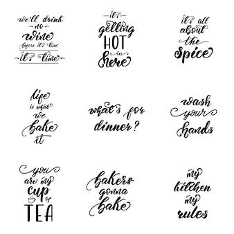 Schriftzug mit phrasen für küchenplakate gesetzt.