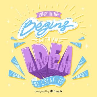 Schriftzug mit zitat für kreativität