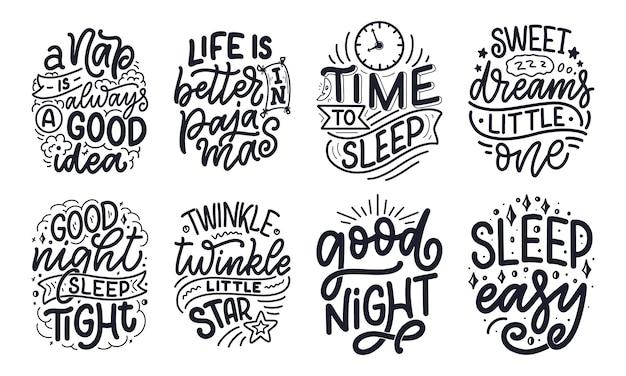 Schriftzug slogan über schlaf und gute nacht. illustration für grafiken, drucke, poster, karten, aufkleber und andere kreative zwecke