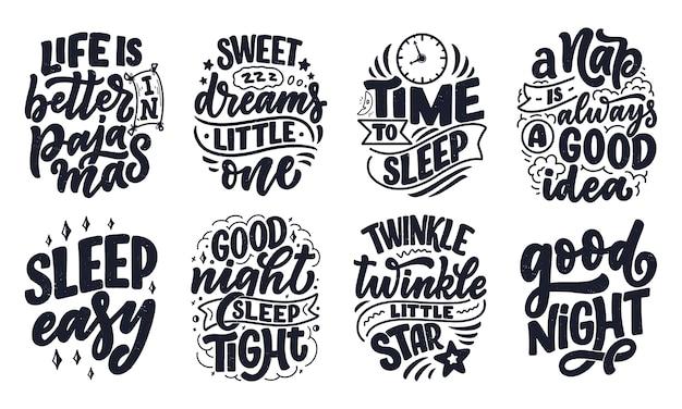 Schriftzug slogan über schlaf und gute nacht.