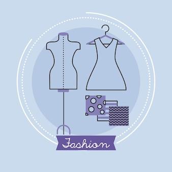 Schriftzug und schaufensterpuppe der modeindustrie