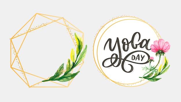 Schriftzug yoga. vektor hintergrund internationaler yoga tag. vektordesign für plakat, t-shirts, taschen. yoga typografie. vektorelemente für etiketten, logos, symbole, abzeichen.