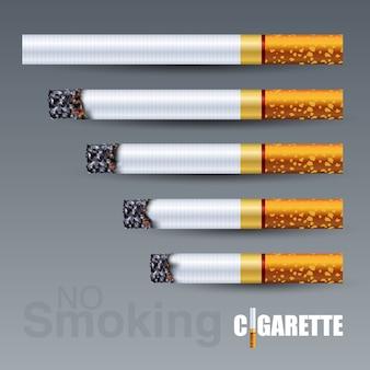Schritt der brennenden zigarette