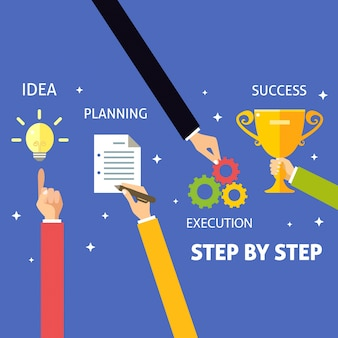 Schritt für schritt, business infografiken