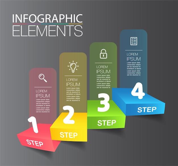 Schritt für schritt des erfolgreichen geschäftskonzepts treppe infografik vektor