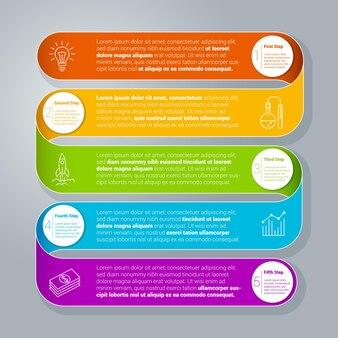 Schritt für schritt regenbogenband infografiken vorlage.