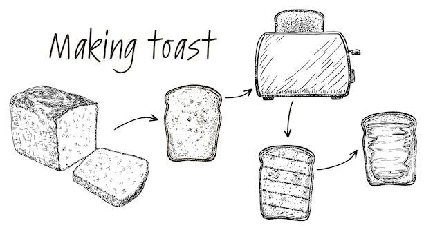 Schritt für schritt rezept infografik für einen toast toast