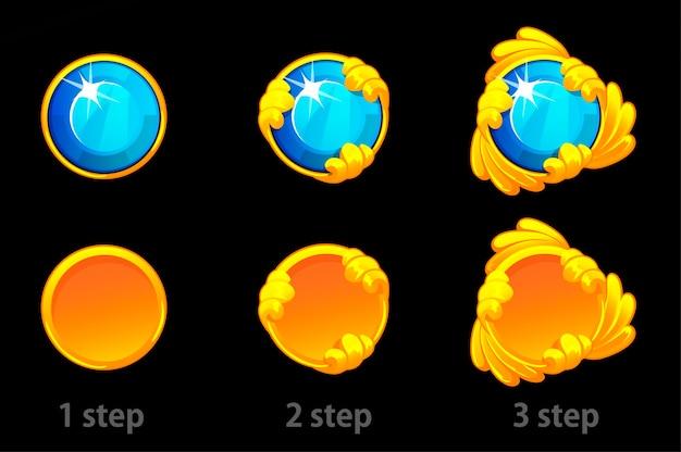 Schritt für schritt verbesserungen an der goldschablone und dem edelstein.