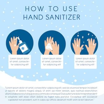 Schritt für schritt verwendung der händedesinfektionsanweisungen zum reinigen der hand