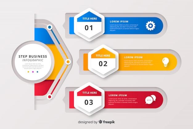 Schritt geschäft infografik