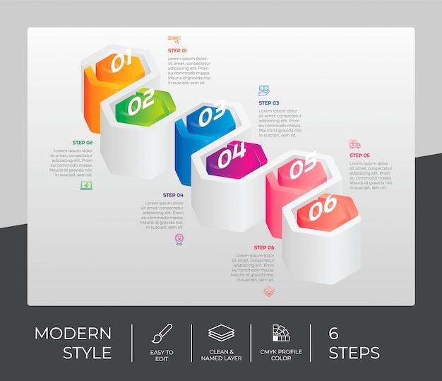Schritt infografik mit 6 optionen und 3d-stil
