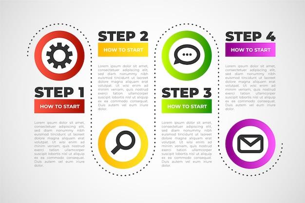Schritt infografik sammlung vorlage