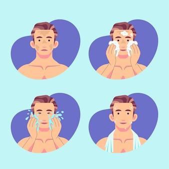 Schritte der männer hautpflege routine