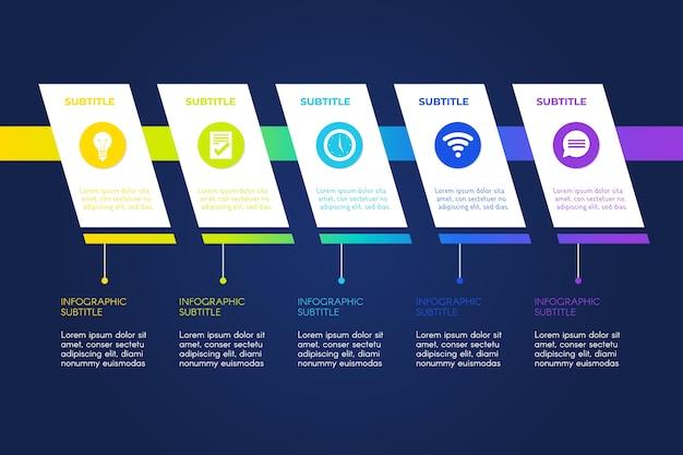 Schritte infografik mit fortschritt