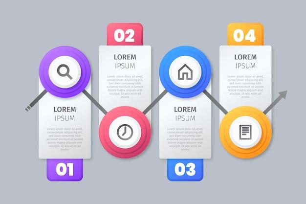 Schritte infografik mit symbolen