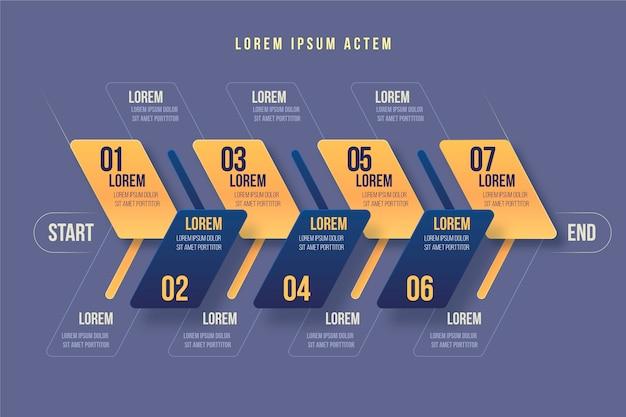 Schritte infografik vorlagenstil