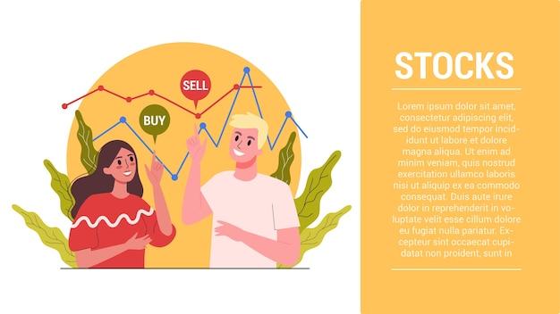 Schritte starten. börsen-web-banner-konzept. idee von finanzinvestitionen und finanziellem wachstum. handel und wirtschaft, geschäftsmann, der datengraph analysiert.
