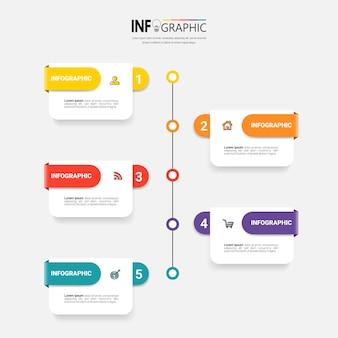 Schritte timeline infografiken designvorlage Premium Vektoren