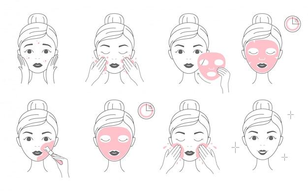 Schritte zum auftragen einer kosmetischen gesichtsmaske und einer tonmaske.