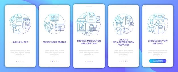 Schritte zur online-bestellung von medikamenten auf dem bildschirm der mobilen app-seite mit konzepten. komplettlösung für nicht verschreibungspflichtige medikamente 5 schritte. ui-vorlage mit rgb-farbabbildungen