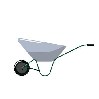 Schubkarre im flachen design auf weißem hintergrund. werkzeug für gartengeräte. vektor-illustration