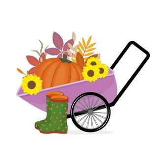 Schubkarre mit einem großen kürbis, sonnenblumen und gummistiefeln, isolierte farbvektorillustration