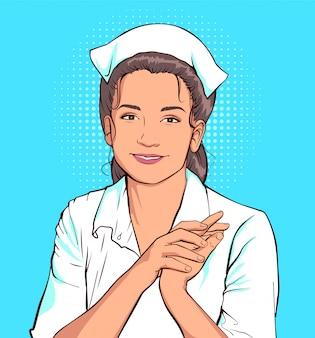 Schüchterne krankenschwesterfrau im weißen mantel