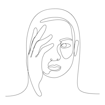 Schüchterner gesichtslinienvektorcharakter mit handabdeckung, um sich um ihr gefühl zu sorgen.