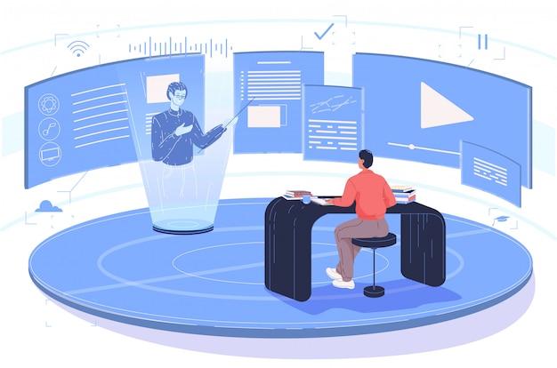 Schüler am schreibtisch während des virtuellen unterrichts