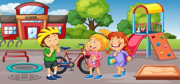 Schüler am schulspielplatz