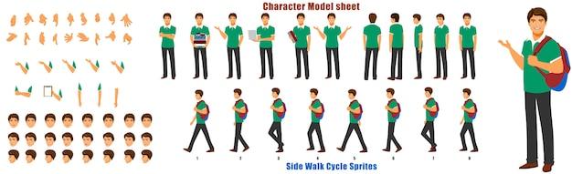 Schüler-charakter-modellblatt mit laufzyklus-animationssequenz