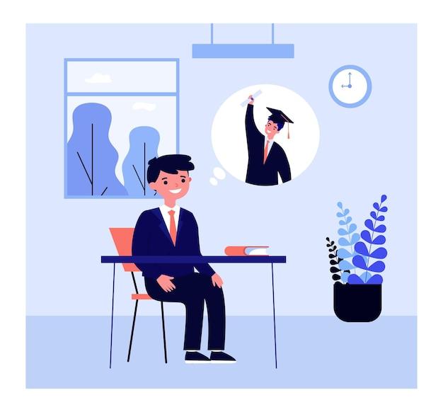 Schüler denken an einen universitätsabschluss