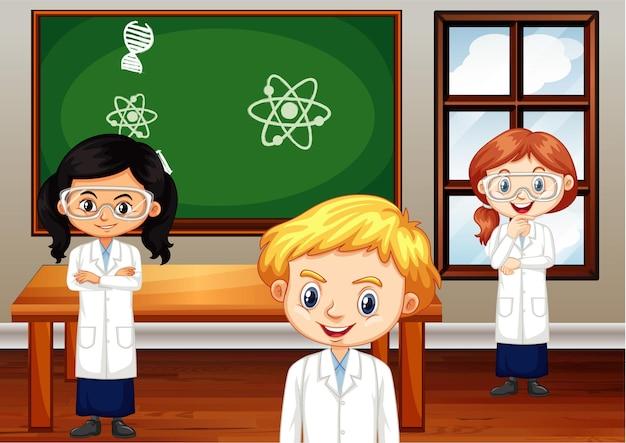Schüler der naturwissenschaften im klassenzimmer