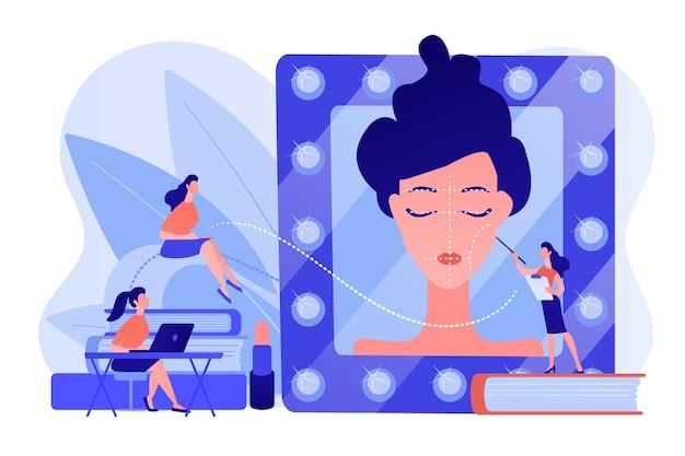 Schüler, die dem lehrer in schulungen zu professionellen make-up-fähigkeiten zuhören. make-up-kurse, make-up-schule, konzept der kosmetik-meisterklasse. isolierte illustration des rosa korallenblauvektors